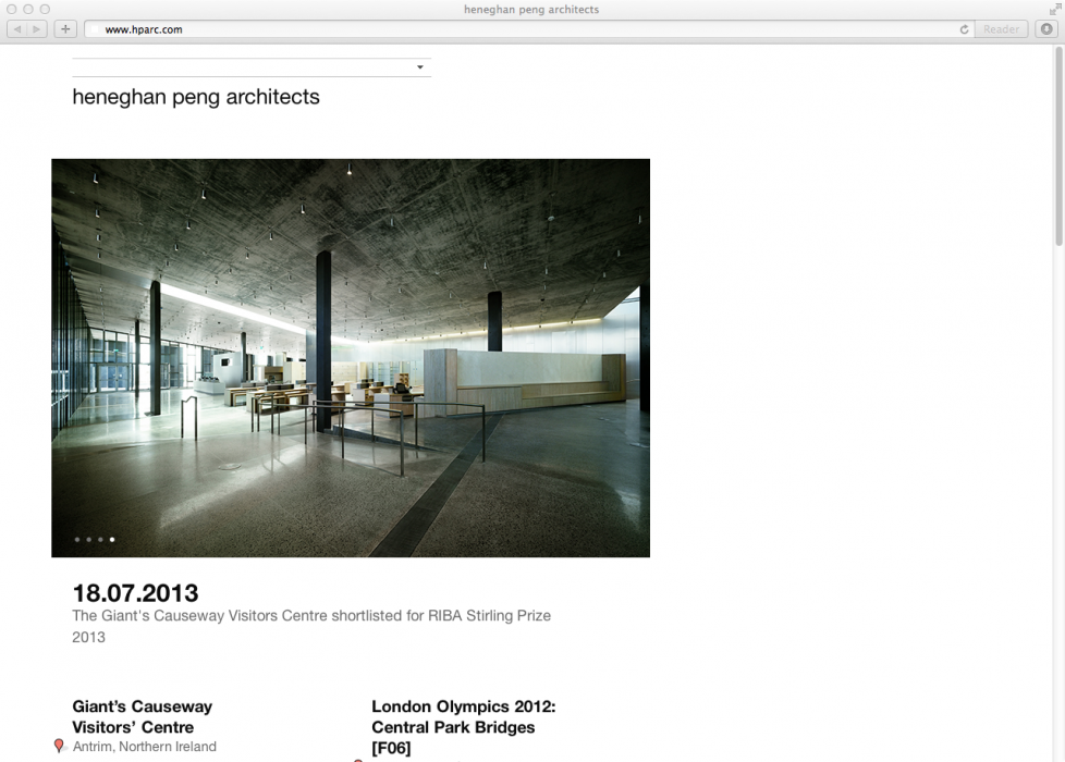 Cover image: heneghan peng architects Website