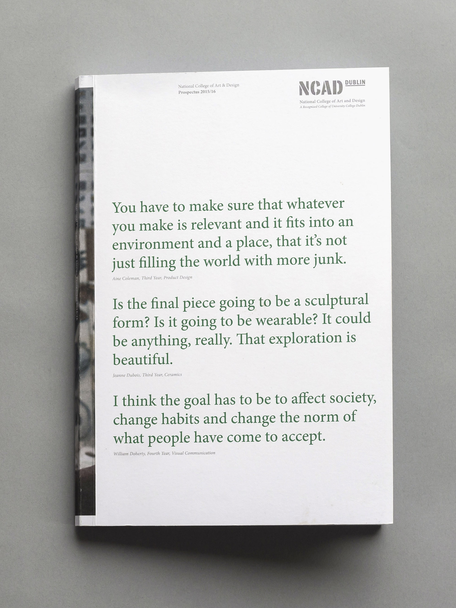 Cover image: NCAD Prospectus