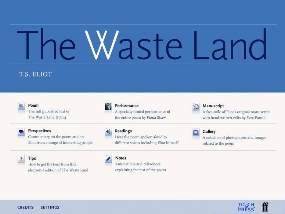Cover image: The Waste Land iPad