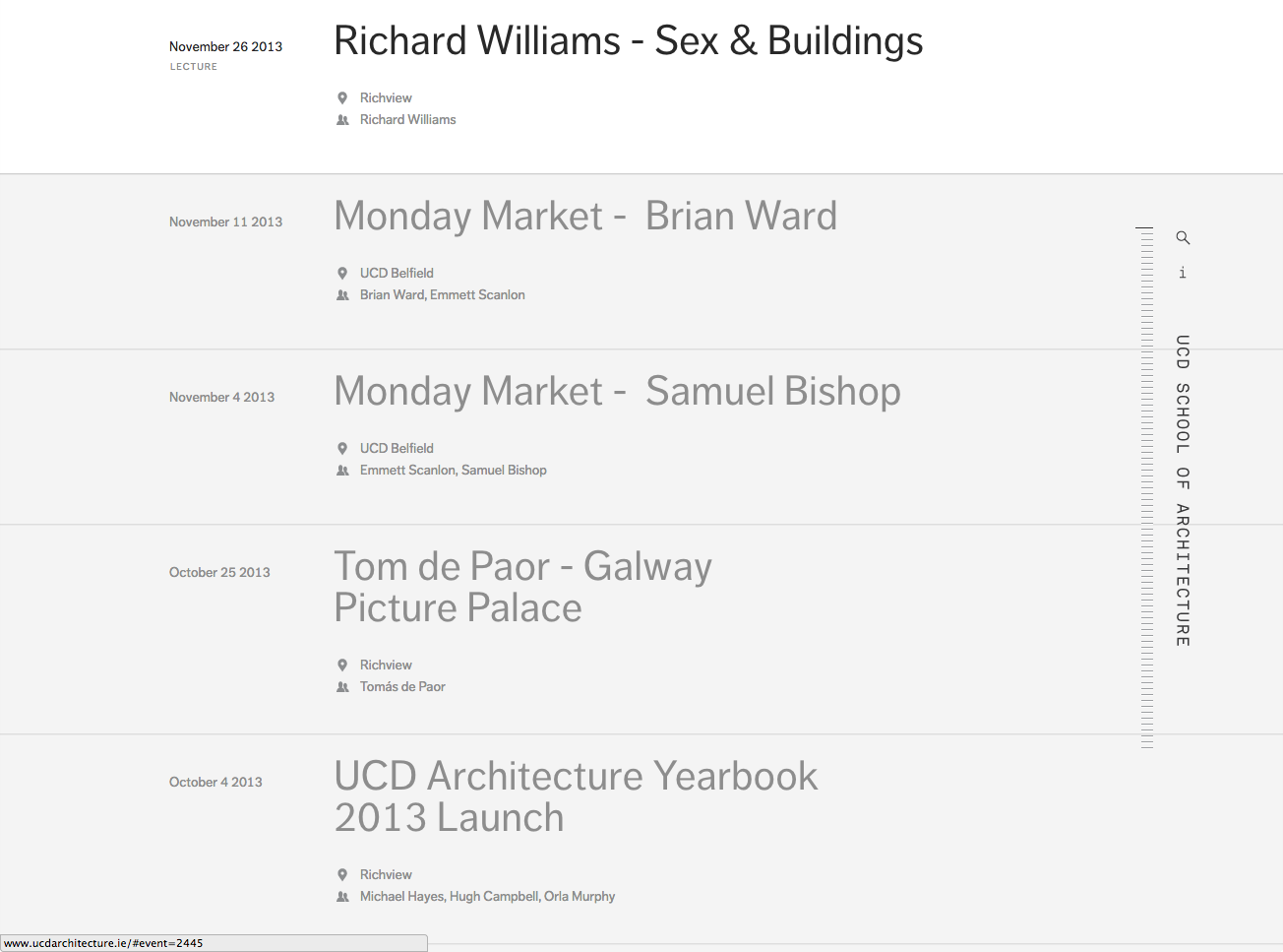 Cover image: UCD Architecture Timeline (2011)